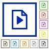 Playlist flat color icons in square frames - Playlist flat framed icons