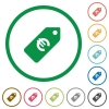 Euro price label flat icons with outlines - Euro price label flat color icons in round outlines