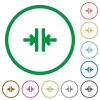 Vertical merge flat color icons in round outlines - Vertical merge flat icons with outlines