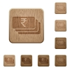 Indian Rupee banknotes wooden buttons - Indian Rupee banknotes icons in carved wooden button styles