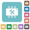Hardware maintenance flat icons - Hardware maintenance white flat icons on color rounded square backgrounds