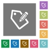 Tagging square flat icons - Tagging flat icons on simple color square background.