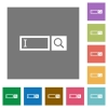 Search box square flat icons - Search box flat icons on simple color square background.