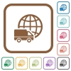 International transport simple icons in color rounded square frames on white background - International transport simple icons
