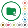 Lock folder flat icons with outlines - Lock folder flat color icons in round outlines