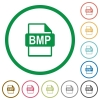BMP file format flat icons with outlines - BMP file format flat color icons in round outlines