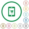 Mobile shopping flat icons with outlines - Mobile shopping flat color icons in round outlines