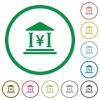 Yen bank flat icons with outlines - Yen bank flat color icons in round outlines