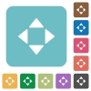 Control arrows flat icons - Control arrows white flat icons on color rounded square backgrounds