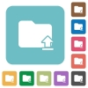 Upload folder flat icons - Upload folder white flat icons on color rounded square backgrounds