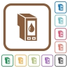 Ink cartridge simple icons - Ink cartridge simple icons in color rounded square frames on white background