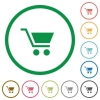 Empty cart flat icons with outlines - Empty cart flat color icons in round outlines