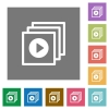 Play files square flat icons - Play files flat icons on simple color square background.