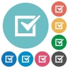 Checked box flat icons - Checked box white flat icons on color rounded square backgrounds