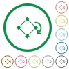 Rotate element flat icons with outlines - Rotate element flat color icons in round outlines