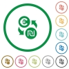 Euro new Shekel exchange flat icons with outlines - Euro new Shekel exchange flat color icons in round outlines