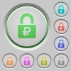 Locked Rubles push buttons - Locked Rubles color icons on sunk push buttons