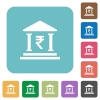 Indian Rupee bank square flat icons - Indian Rupee bank flat icons on simple color square background.