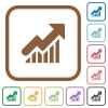 Rising graph simple icons - Rising graph simple icons in color rounded square frames on white background