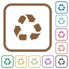 Recycling simple icons - Recycling simple icons in color rounded square frames on white background