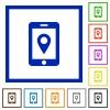 Mobile navigation flat framed icons - Mobile navigation flat color icons in square frames