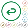 Back arrow flat icons with outlines - Back arrow flat color icons in round outlines
