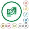 Ruble coins flat icons with outlines - Ruble coins flat color icons in round outlines