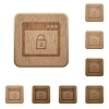 Lock application wooden buttons - Lock application icons in carved wooden button styles