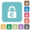 Locked euros square flat icons - Locked euros flat icons on simple color square background.