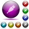 USB plug glass sphere buttons - USB plug color glass sphere buttons with shadows.