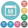 Save application flat icons - Save application white flat icons on color rounded square backgrounds