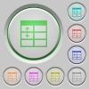 Spreadsheet adjust table row height push buttons - Spreadsheet adjust table row height color icons on sunk push buttons