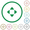 Control arrows flat icons with outlines - Control arrows flat color icons in round outlines