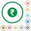 Indian Rupee sticker flat icons with outlines - Indian Rupee sticker flat color icons in round outlines