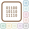 Binary code simple icons - Binary code simple icons in color rounded square frames on white background