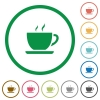 Coffee flat icons with outlines - Coffee flat color icons in round outlines