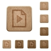 Playlist wooden buttons - Playlist icons in carved wooden button styles