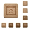 Application syncronize wooden buttons - Application syncronize icons in carved wooden button styles