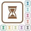 Hourglass simple icons - Hourglass simple icons in color rounded square frames on white background