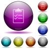 Checklist glass sphere buttons - Checklist color glass sphere buttons with shadows.