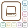 Hard disk drive simple icons - Hard disk drive simple icons in color rounded square frames on white background
