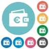 Euro wallet flat icons - Euro wallet white flat icons on color rounded square backgrounds