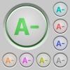 Decrease font size push buttons - Decrease font size color icons on sunk push buttons