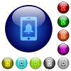 Mobile alarm color glass buttons - Mobile alarm icons on round color glass buttons