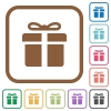 Gift box simple icons - Gift box simple icons in color rounded square frames on white background