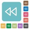 Media fast backward square flat icons - Media fast backward flat icons on simple color square background.
