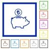 Turkish Lira piggy bank flat framed icons - Turkish Lira piggy bank flat color icons in square frames