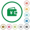 Yen wallet flat icons with outlines - Yen wallet flat color icons in round outlines