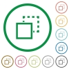 Send to back flat icons with outlines - Send to back flat color icons in round outlines