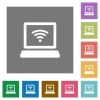 Computer with wireless symbol square flat icons - Computer with wireless symbol flat icons on simple color square background.